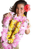 Tropical Flower Lei Woman — Stock Photo