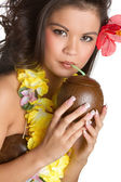 Tropical Woman Drinking — Stock Photo