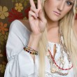 Peace Sign Girl - Stock Photo