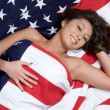 American Flag Woman - Stock Photo