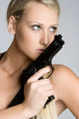 Sexy Gun Woman — Stock Photo