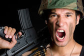 Angry Soldier — Stock Photo