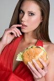 Sexy Burger Woman — Stock Photo