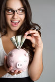Piggy Bank Girl — Stock Photo