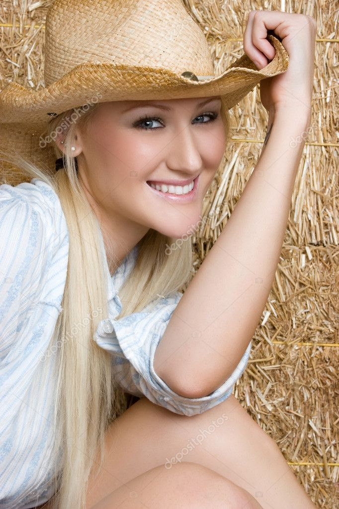 Pretty smiling country girl  Stock Photo #3733908