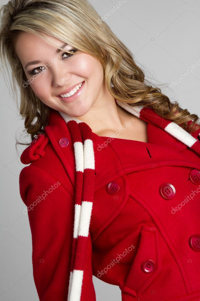 Smiling girl wearing winter coat — Stock Photo #3733974
