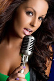 Microphone Girl — Stock Photo