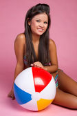 Beach Ball Girl — Stock Photo