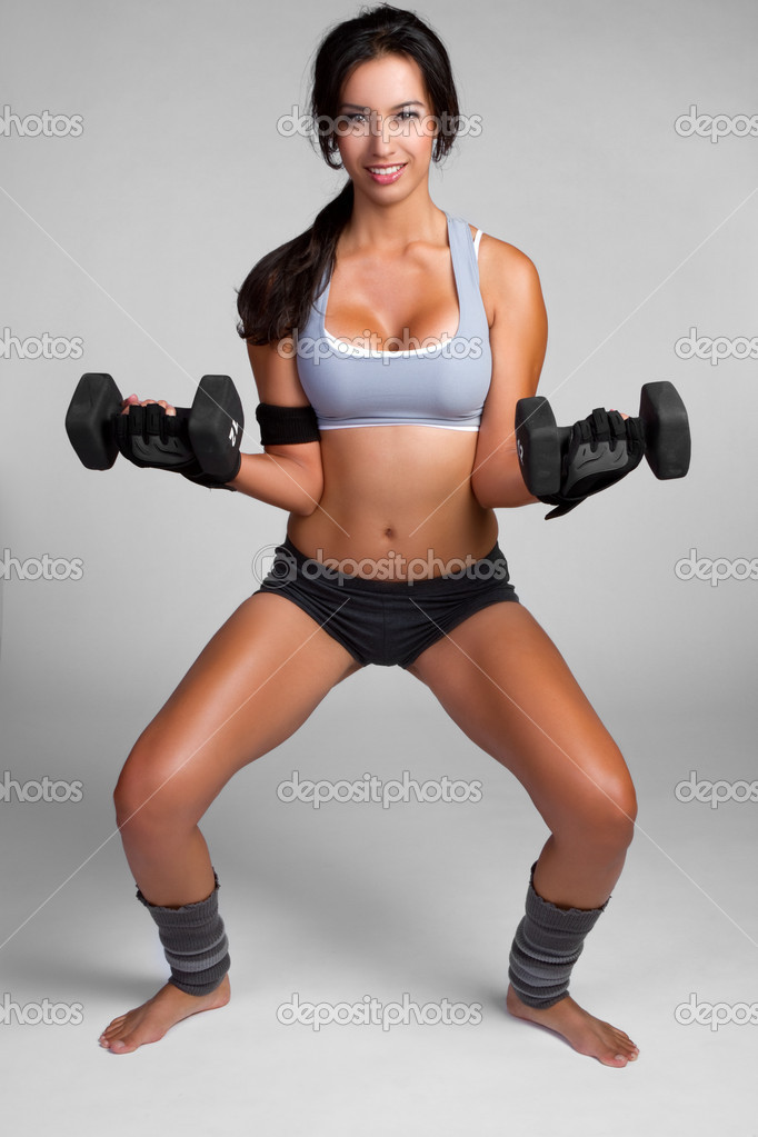 Healthy fitness woman lifting weights — Stock Photo #3825286