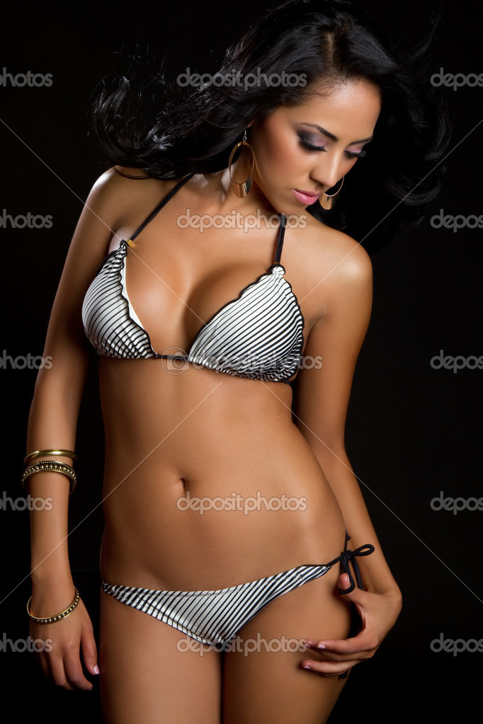 Beautiful hispanic bikini swimwear woman — Stock Photo #3843251