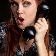Vintage Telephone Woman — Stock Photo