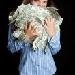 Woman Holding Money — Stockfoto