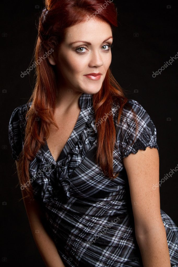 Beautiful young redhead woman smiling  Stock Photo #3882348