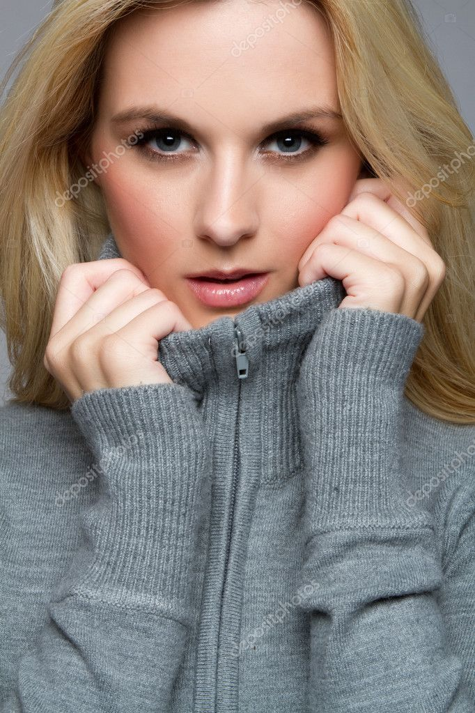 Pretty blond winter sweater woman  Stock Photo #3889845