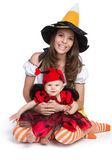 Mother Daughter Halloween — Stock Photo