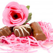 Pink rose and chocolate for valentine - Stock Photo