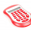 Red calculator on white background — Stock Photo