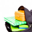 Stock Photo: Open schoolbag with books and lunchbox