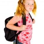 Happy schoolgirl ready to go to school — Stock Photo