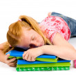 Sleeping while working on homework — Stock Photo