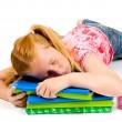 Sleeping while working on homework — Stock Photo