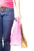 Femme tenant shoppingbags dans sa main — Photo
