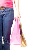 Vrouw met shoppingbags in haar hand — Stockfoto