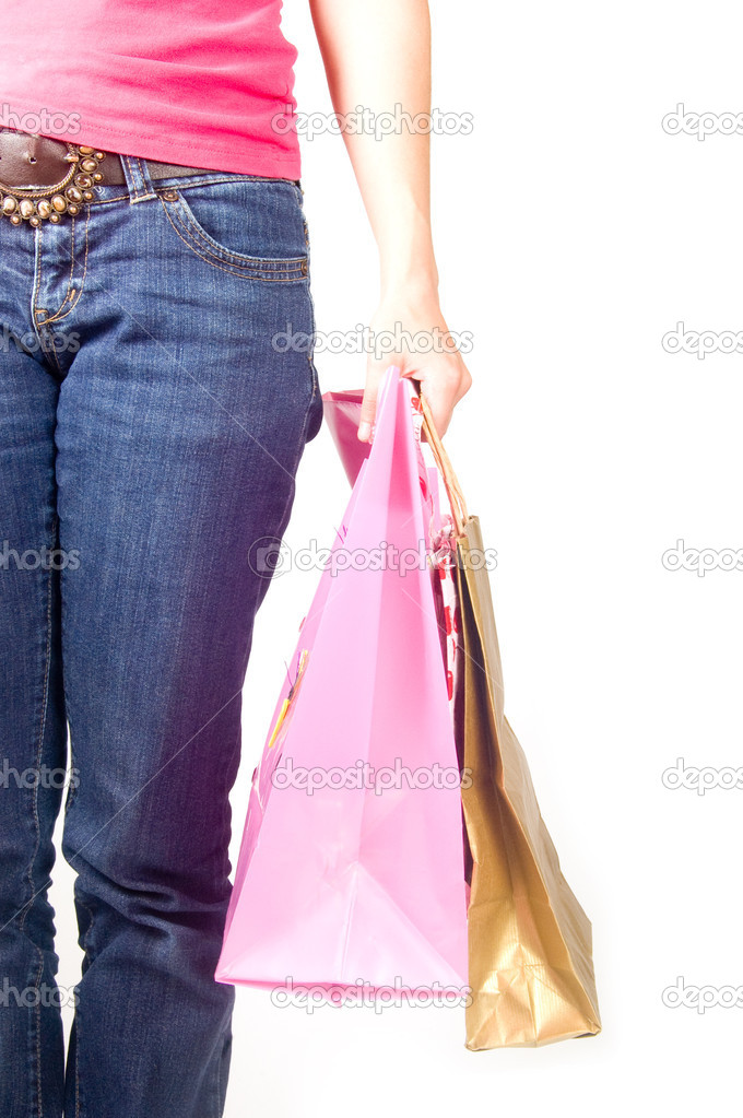 Image of female holding shoppingbags in her hand isolated on white  Stock Photo #2762722
