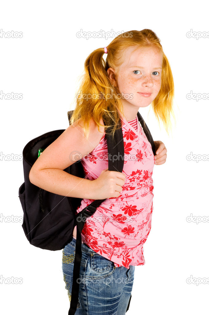 Happy schoolgirl ready to go to school stock photo for Ready to go images
