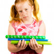 Schoolgirl is making her homework — Stock Photo