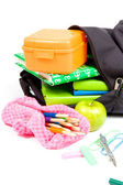 Back to school supplies studio isolated on white — Stock Photo