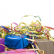 Presents wrapped in paper with colorful streamer — Stock Photo #3226764