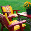 Lawn Furniture With Flowers — Stock Photo