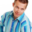 Young man in blue striped shirt — Stock Photo