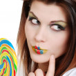 Royalty-Free Stock Photo: Young woman with colorful lollipop
