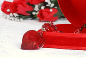 Heart necklace and jewelry box — Stock Photo