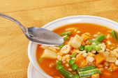 Ready to eat vegetable soup — Stock Photo