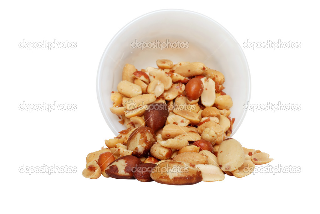 Isolated Spilled mixed nuts on white background  — Stock Photo #3050913