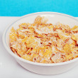 Closeup bowl of flaky cereal — Stok fotoğraf