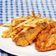 Fired Chicken and Fries — Stock Photo
