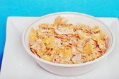 Closeup bowl of flaky cereal — Stock Photo