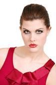 年轻女子与红色唇膏和顶部的爆头 — 图库照片