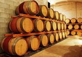 Wine barrel storage area — Stock Photo