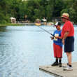 Granddad and Grandson Fishing — Stock Photo