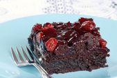 Brusinkový brownie s vidličkou — Stock fotografie