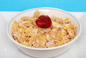 Closeup of a bowl of flaky cereal with strawberry — Stock Photo