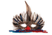 Feather mardi gras mask with colorful beads — Stock Photo