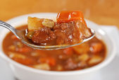 Macro spoonful of beef stew — Stock Photo