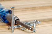 śruby i śrubokręt — Zdjęcie stockowe