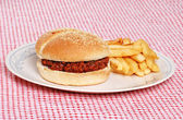 Sloppy joe with french fries — Stock Photo